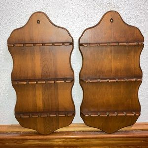 Vintage Pair of Wooden Spoon Racks